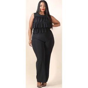 Pants - Plus Size Ruffled Top Straight Leg Jumpsuit